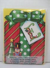 Pkg 6 Mary Engelbreit Christmas Notecards Letter E Gift Box Bow Toy Soldier New