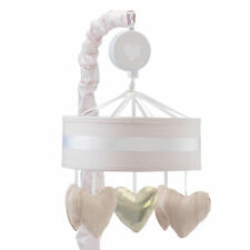 Lambs & Ivy Sweetheart Pink/Gold/White Heart Musical Baby Crib Mobile