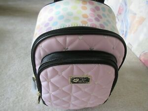 Luv Betsey Johnson Quilted Hearts Pink/White With Spots Backpack New With Tag
