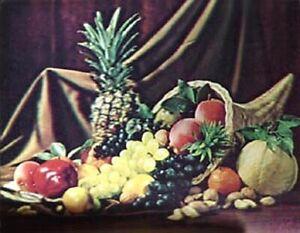 Cornucopia Fruit 1960's VARI-VUE 14 x 16 inch Lenticular 3-D Picture Great 3-D!