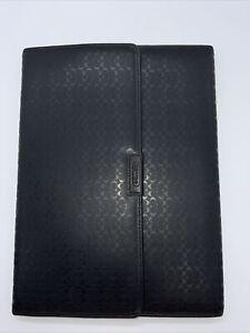 Coach Heritage Signature Embossed Tri Fold Portfolio F62495 Black Rare