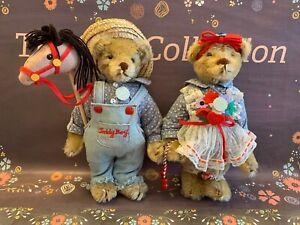 Gorham 'Time Machine Teddies' 1986 Beverly Port Set of 2 Musical Wind Up Bears