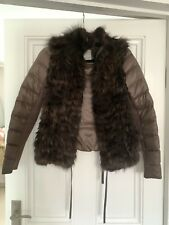Pinko Brown Quilted Short Jacket With Fur Front