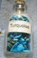 1 x 5 MM BOTTLE OF SMALL MIXED GEMSTONES TURQUOISE  WITH CORK STOPPER