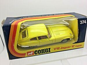 Corgi Toys Jaguar E Type 2+2 V12 5.3 l No 374 In Yellow Near Mint In Box