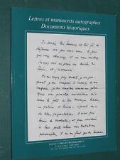 """Catalogue Lettres et manuscrits autographes  N° 6 Galerie """"Arts et Autographes"""""""