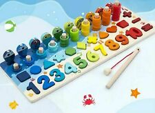 Montessori Wooden Toys For Children Busy Educational Math Board For Kids Fishing