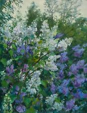 LILAC IN GARDEN by Alexander YURGIN, Original oil Painting RUSSIAN 18x14 inches