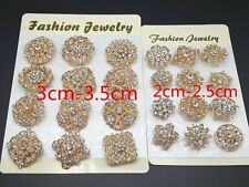 24X Mixed Styles Alloy Golden Rhinestone Crystal Brooch Diy Wedding Bouquet Pins