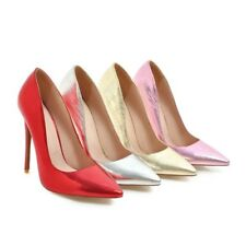 Ladies Pointed Shoes Shiny Synthetic Leather High Heels Party Pumps AU Size S901