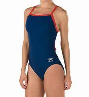 Speedo Red Blue Womens Size 12 Chlorine-Resistant One-Piece Swimwear $69 059