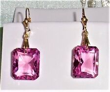 36cts Natural Emerald,  Pink Topaz gemstones 14kt yellow gold Leverback earrings