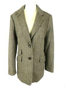 Talbots Women's Blazer US 14 Brown Herringbone Wool Blend 2-Btn Ticket Pocket