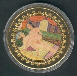 """1 Coin(gilded)/Medal 40mm, 27g, Kamasutra """"Der Kreisel"""" Proof Like + Zertifikat"""