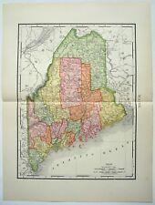 Original 1895 Map of Maine by Rand McNally