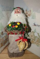 BYERS CHOICE Fall Event Nature Santa Claus w Tray Straw Ornaments Signed Joyce*