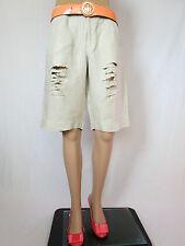 Jackpot por Carli Gry Mujer Casual Pantalones Cortos De Lino Beige socorro personalizado talla L AQ85