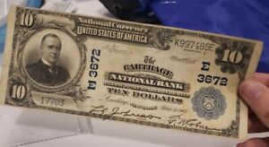 $10 Dollar The Carthage National Bank Large Size National Currency 1902