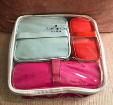 Kate Spade Cosmetic Bag Collection: 3 Bright Cosmetic Bags, Clear Carrying Case