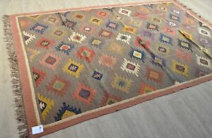 Kilim Rug Indian Jute Wool Large Hand Knotted 180x275cm 6x9ft Geometric KR1907