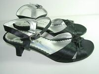 WOMENS BLACK STRAPPY SATIN WEDDING EVENING SANDALS HIGH HEELS SHOES SIZE 6.5 M
