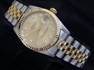 Rolex Datejust 68273 Midsize 18K Yellow Gold Steel Watch Factory Diamond Dial