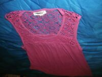 78083292b Liz Lange Maternity Purple Tank Top Blouse Shirt Tee Crochet Lace Ribbed  (B141)