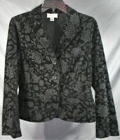 Womens 6 Talbots Black Floral Burnout 3 Button Collar Velvet Jacket Blazer - EUC