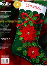 "Bucilla Elegant Poinsettia~ 18"" Felt Christmas Stocking Kit #85105 Ribbon Flower"