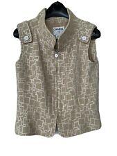 Auth Chanel  Vest / Top Nude Tweed Silver Beige Pale Pink Sz 42 40 38