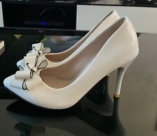 Ladies high heeled shoes size 38 white with bow detail