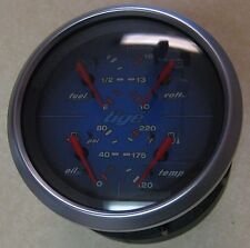 Faria Tige Logo Blue Face 4-in-1 Fuel Volt Temp Oil Pressure Boat Gauge GF0117A