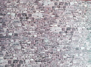 Dollhouse Miniature Gray Stone Wall Weathered Aged Embossed Card 1:12 Scale Wall