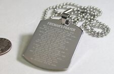 FIREMAN PRAYER  X LARGE THICK SOLID STAINLESS STEEL DOG TAG NECKLACE