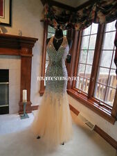 Prima Donna 5657 Champagne Nude Pageant Prom Gown Dress sz 6