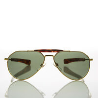 Vintage Gold Aviator Sunglass Glass Lens Bayonet Temples  - Diamond Gold