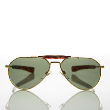 Vintage Gold Aviator Sunglass Glass Lens Paddle Temples  - Diamond Gold