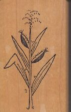 "cornstalk raindrops Wood Mounted Rubber Stamp  1 1/2 x 2 1/2""  Free Shipping"