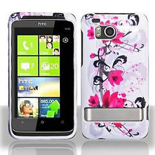 For HTC Thunderbolt 4G Protector Hard Case Snap Phone Cover White Purple Flowers