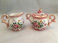 Hand Painted Sugar Bowl & Creamer Set Pink Roses, Ruffled Top Edge w/ Gold Trim