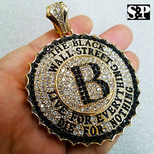 ICED OUT HIP HOP LAB DIAMOND GOLD PLATED THE BLACK WALL STREET PENDANT