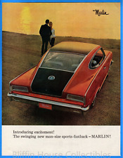 Vintage 1965 Rambler Marlin Man-Size Sports-Fastback Original Color Print Ad