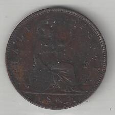 GREAT BRITAIN,  1862,  1/2 PENNY,  BRONZE,  KM#748.2,  VERY FINE-EXTRA FINE+