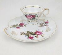 Vintage Japanese Moss Rose Gold Trimmed Tea Cup And Snack Luncheon Saucer Plate