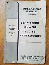 Vintage John Deere Operator's Manual Model Mc-2 Two Bottom Plow