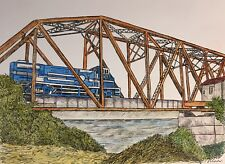 TRAIN ON TRESTLE - US, Small, Art Reproduction, Artist, Ink, Realism, Train