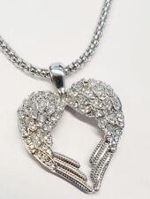 X599 Set: Designer Herz-Anhänger Longkette rhodiniert Kristalle weiss