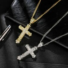 14k Gold or 925 Silver Plated Cross Pendant Necklace w Cubic Zirconia Crystals
