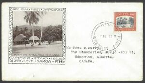 75 Western Samoa 1935 2d River Scene illustrated FDC First Day cover to Canada