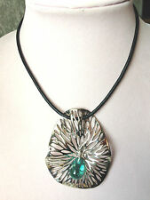 HAGIT STERLING SILVER KALOS GLASS PENDANT ON LEATHER CORD (M533-8)